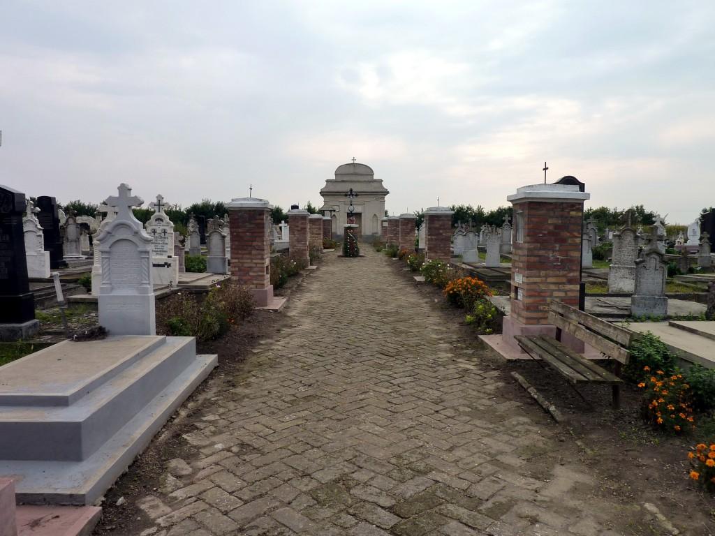 Der Hauptweg des Friedhofes in Lenauheim