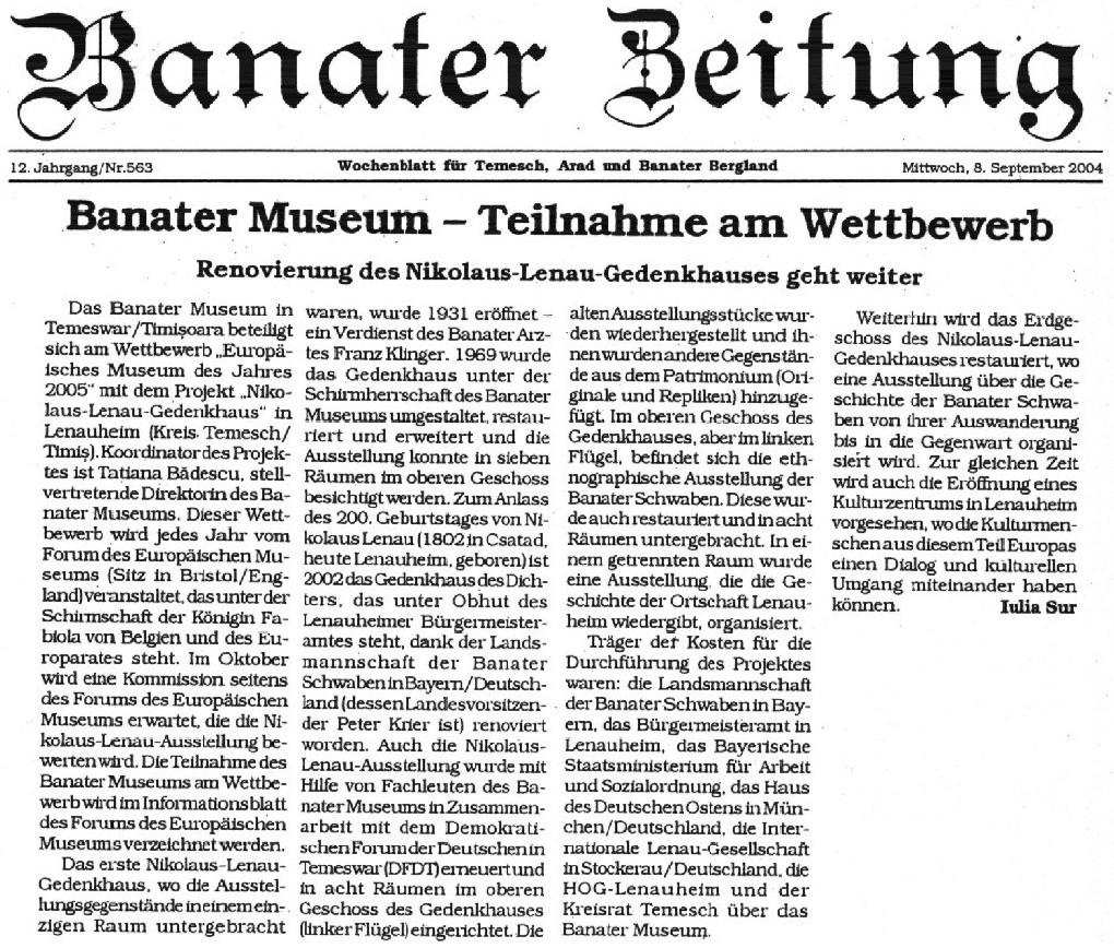 Banater Zeitung am 8. September 2004