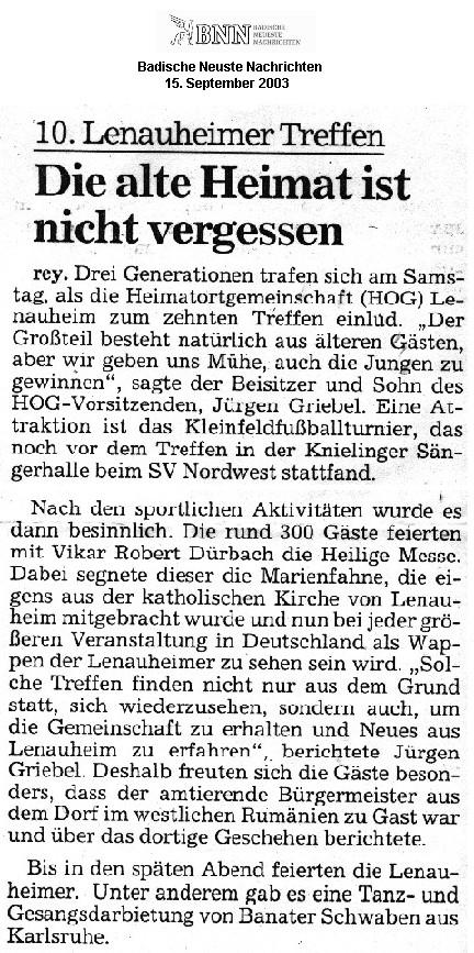 """15. September 2003 - """"Badische Neuste Nachrichten (BNN) - Ausgabe Karlsruhe Stadt"""""""