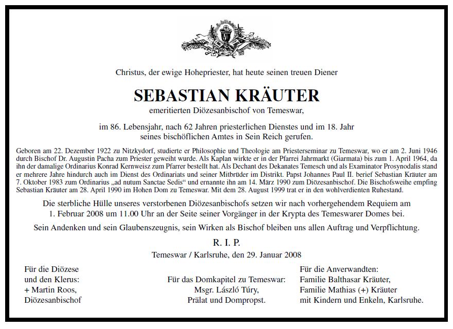 Todesanzeige von Msgr. Sebastian Kräuter