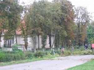 Schäden nach dem Sturm in der Kirchengasse 2004